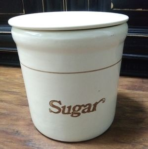 Vintage Ceramic Heavy Sugar Canister with Lid